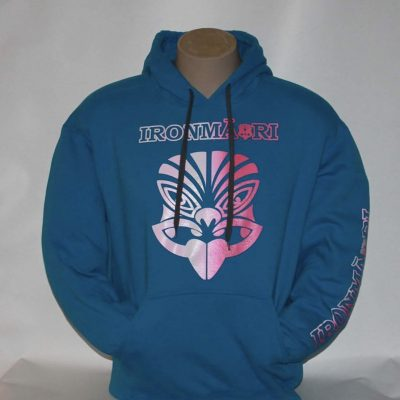 Blue Hoodie pink and white tiki