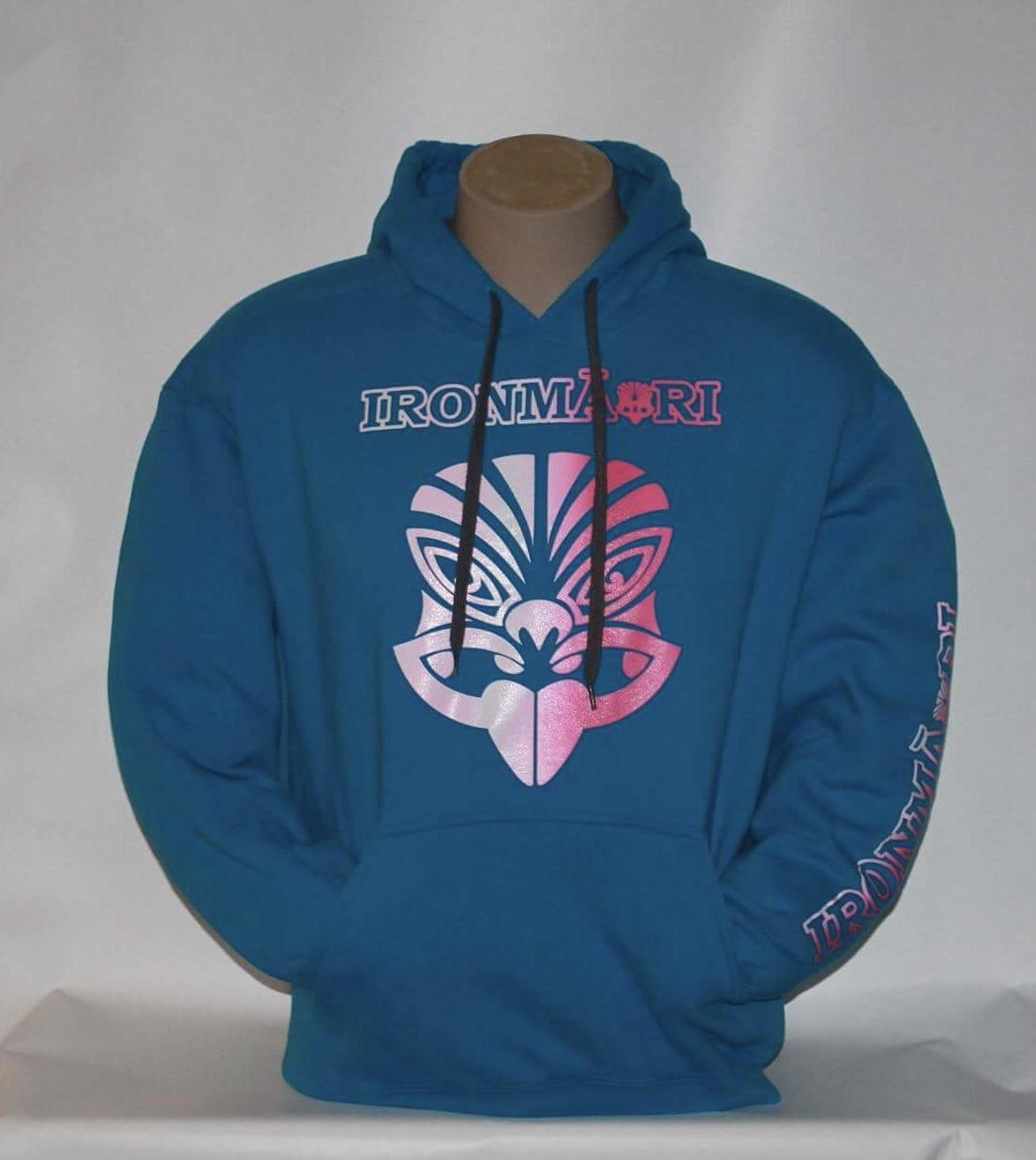 Blue Hoodie pink and white design | IRONMĀORI