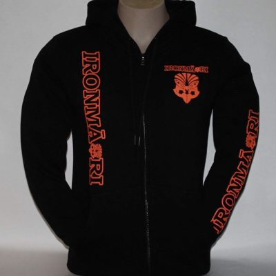 Black zip hoodie fluro orange design