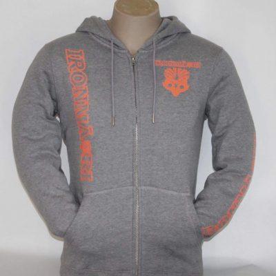 Marl grey hoodie, fluro orange design